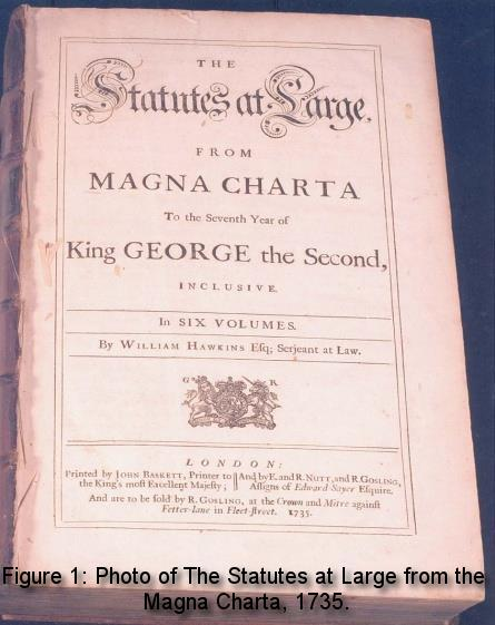 Figure 1: Photo of The Statutes at Large from the Magna Charta, 1735.