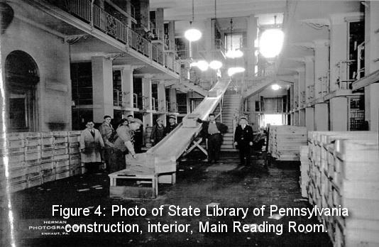 Figure 4: Photo of State Library of Pennsylvania construction, interior, Main Reading Room.